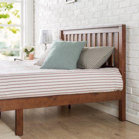 Zinus Vivek 12 Inch Wood Platform Bed With Headboard Antique