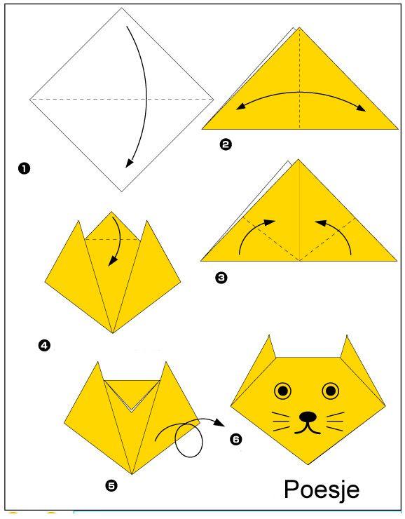Origami Poesje Vouwen Origami Pinterest Origami Origami