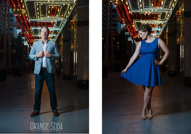 Liz and Greg - Las Vegas Container Park Engagement Session  #bluedress #gorgeous #engagementphotography #fremontstreet #oldvegas