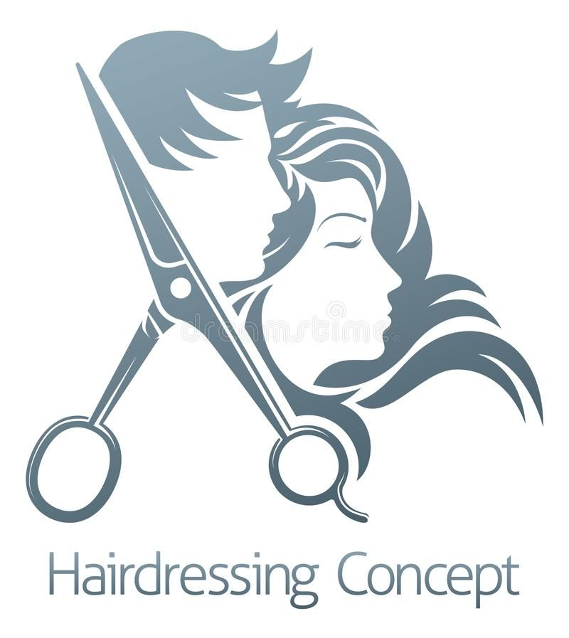 Photo About A Hairdresser Hair Salon Scissors Man And Woman Sign