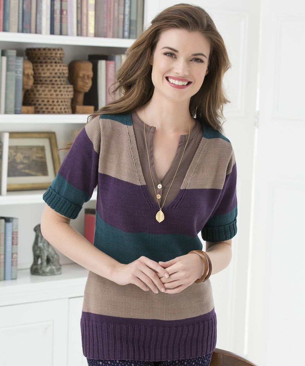 Casual v neck sweater miami knitting redheart new new free ravelry casual v neck sweater pattern by red heart design team bankloansurffo Image collections