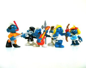 Set Of 6 Retro Smurfs Toys Smurf Figurines Vintage Smurfs 1980s