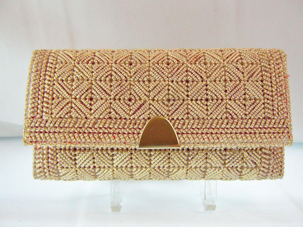 Handmade Envelope Purse Clutch Evening Bag Wallet Plastic Canvas Needlepoint #EveningBag