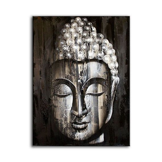 Wood buddha silver painting handmade wall art wall hanging