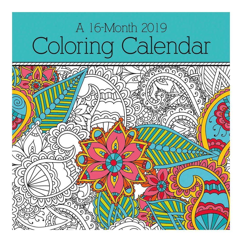2019 Wall Calendar Coloring Book Trends International Multi Colored Coloring Books Coloring Calendar Wall Calendar