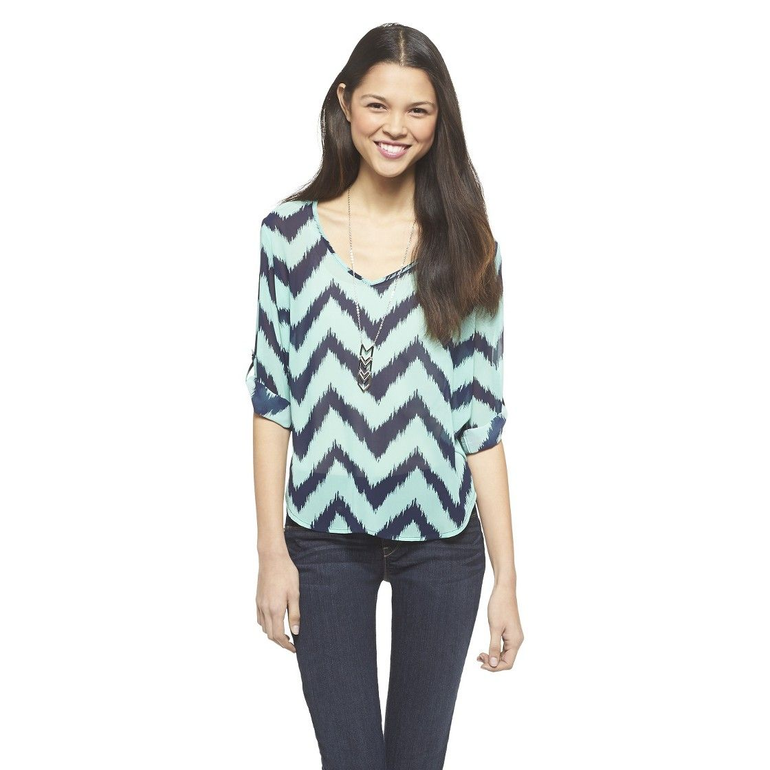 Rolled Sleeve Chevron Top - 3Hearts