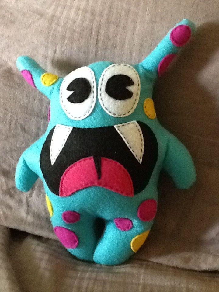 Classroom Mascot Blue Felt Monster By Happycrocodile