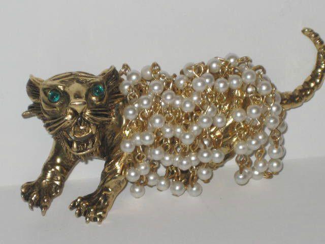 1950s Signed Hattie Carnegie Gold Tone Pearl Draped Huge Fierce Tiger Brooch Pin #HattieCarnegie sold $151.00
