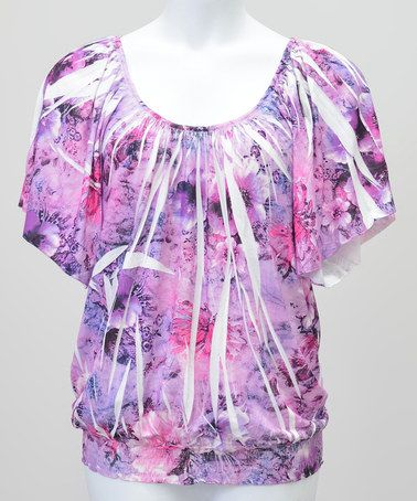 This Purple Sublimation Banded Cape-Sleeve Top - Plus by Simply Irresistible is perfect! #zulilyfinds