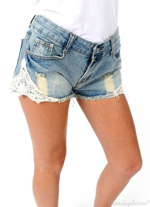 All American Girl Lace and Denim Shorts