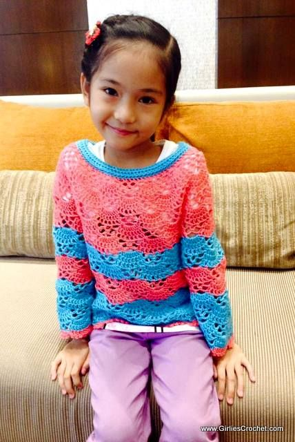 Bea Sweater for kids is a free crochet pattern with photo tutorial ...