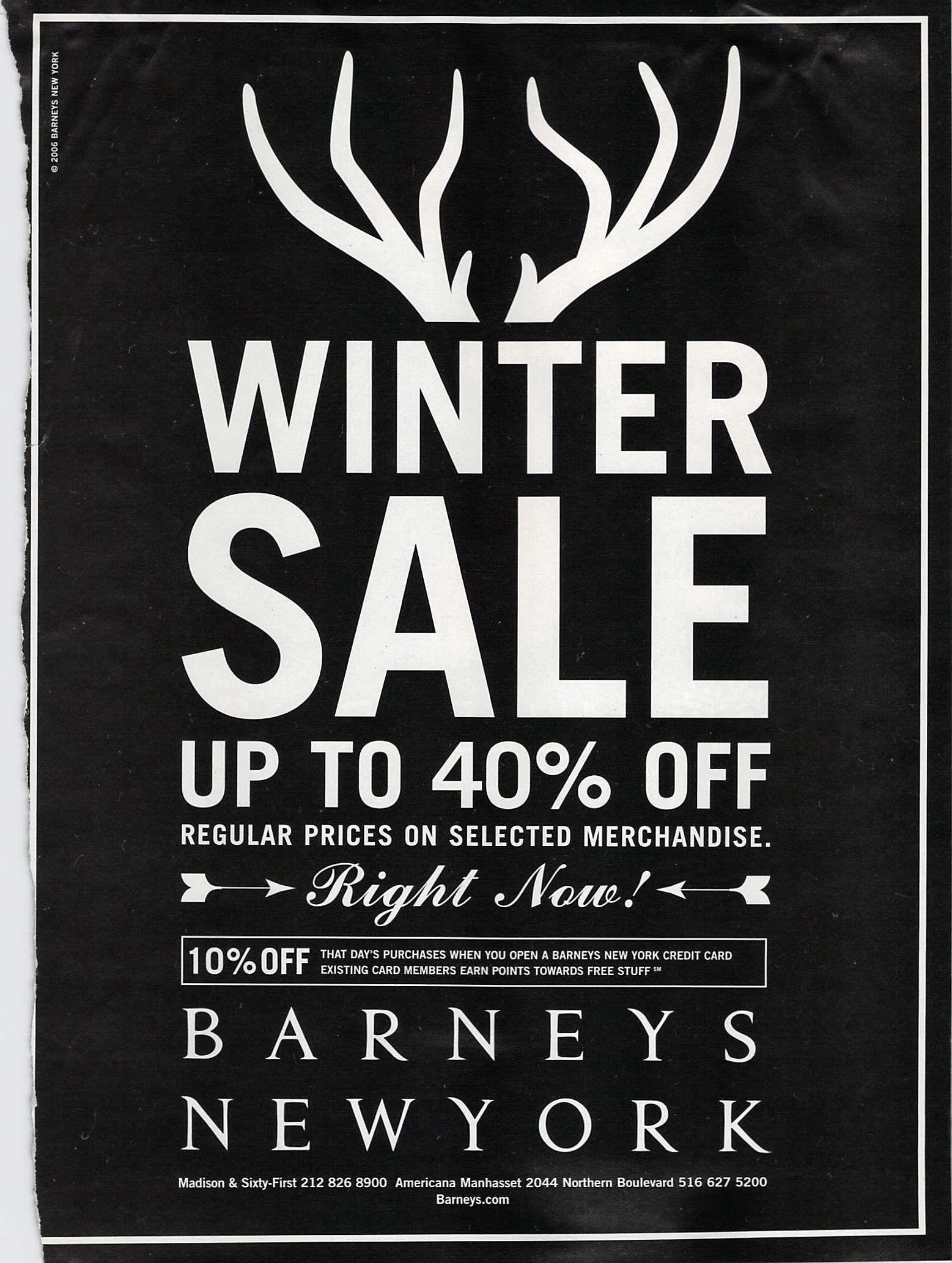 Barneys Winter Sale Barneys Sale Advertisement Event Poster
