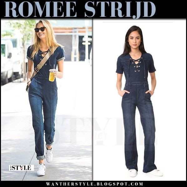 0804401bf729 Romee Strijd casual outfit in denim jumpsuit in NYC June 28 2017 ...