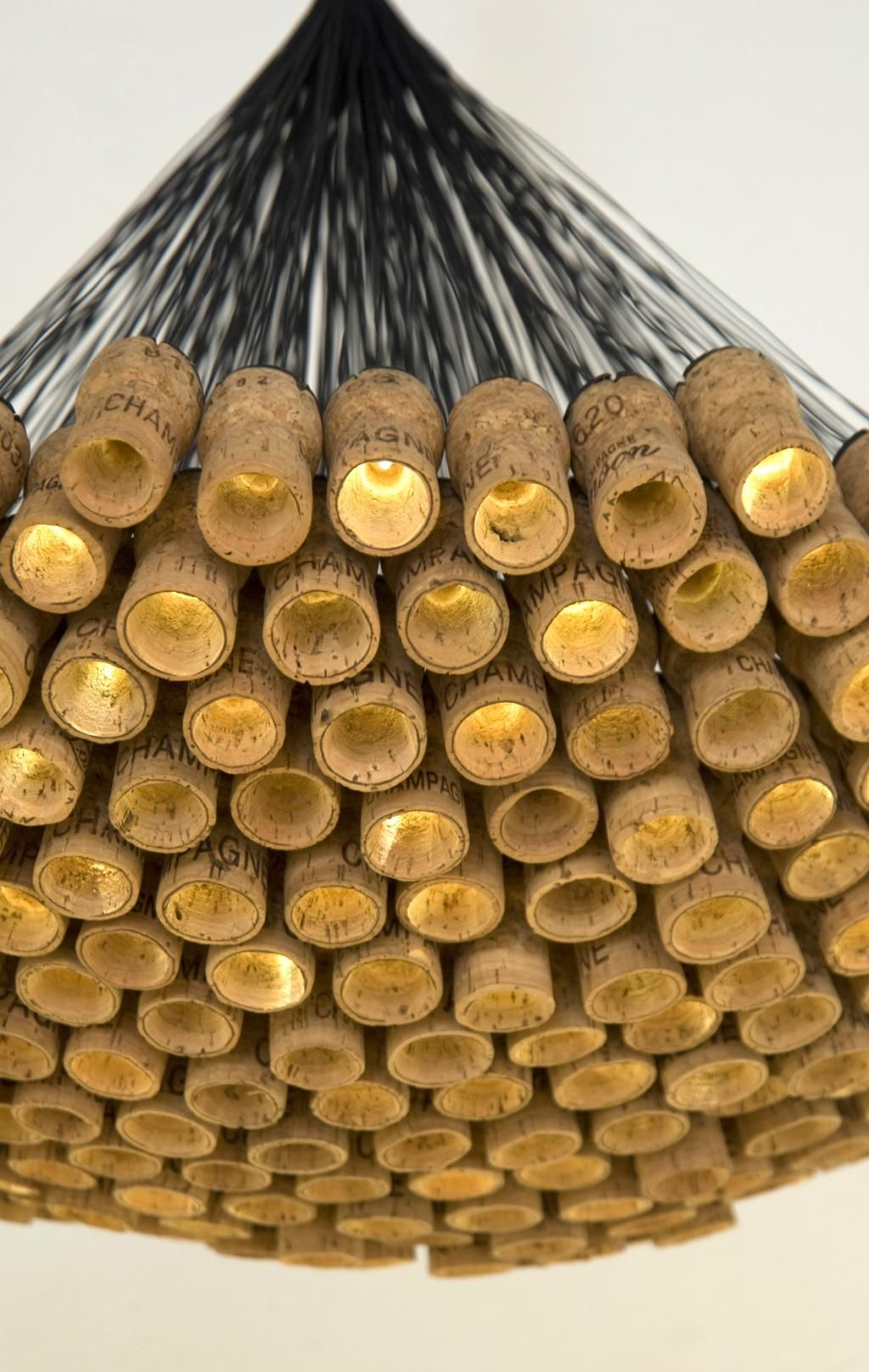 Celebration chandelier champagne corks led recycled up for Cork ideas