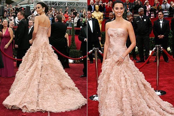 Penelope Cruz Pink Strapless Feathered Versace Dress