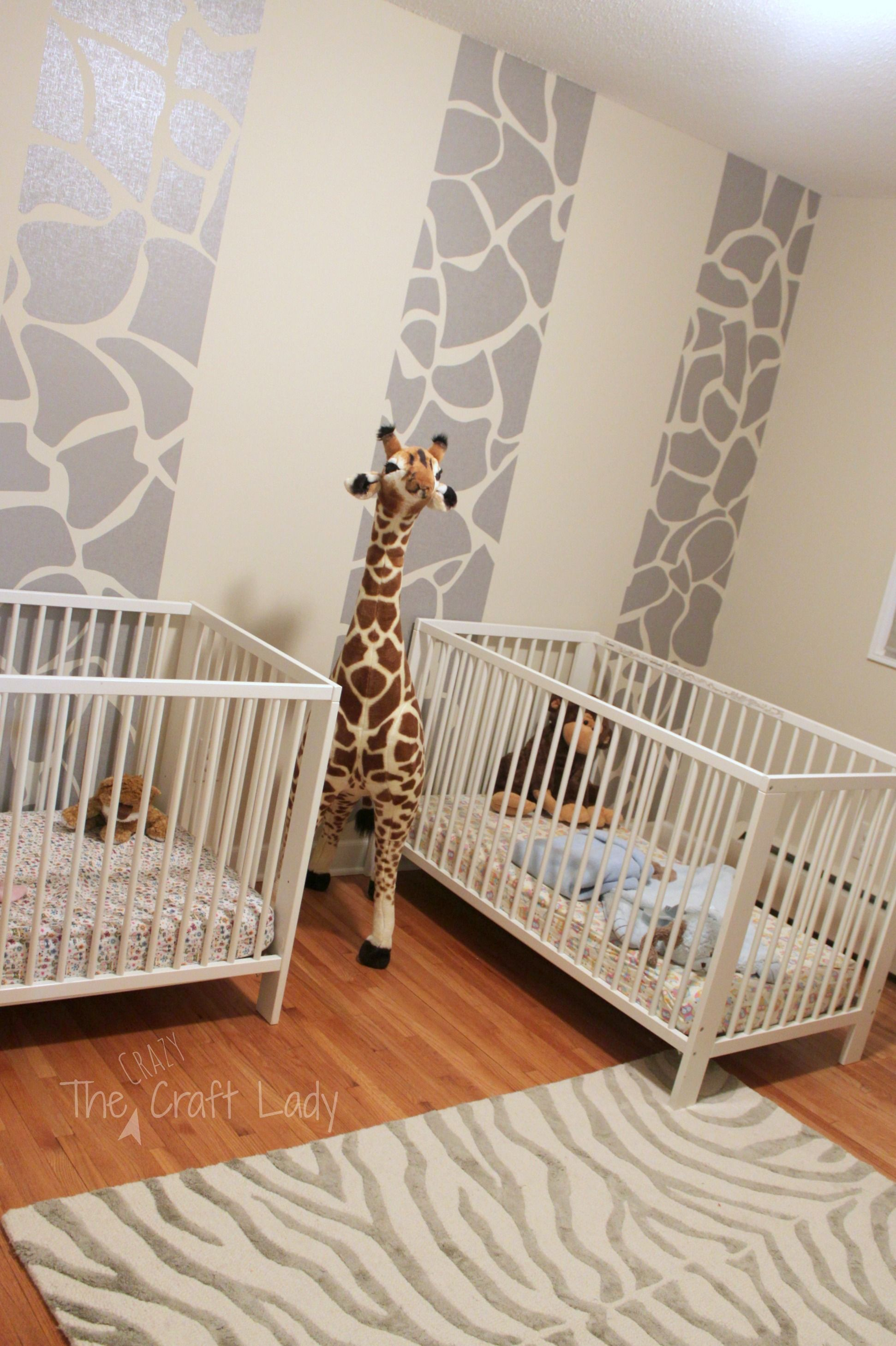 Best Twins Room Phase 1 Giraffe Striped Feature Wall Decor Nursery Giraffe 400 x 300