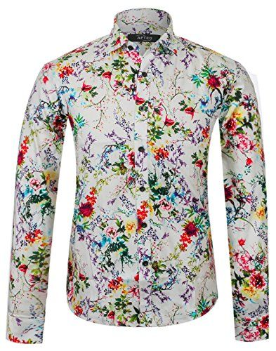 Luxury Mens Floral Shirt Long Sleeve Cotton Flower Printed Casual Button Shirt