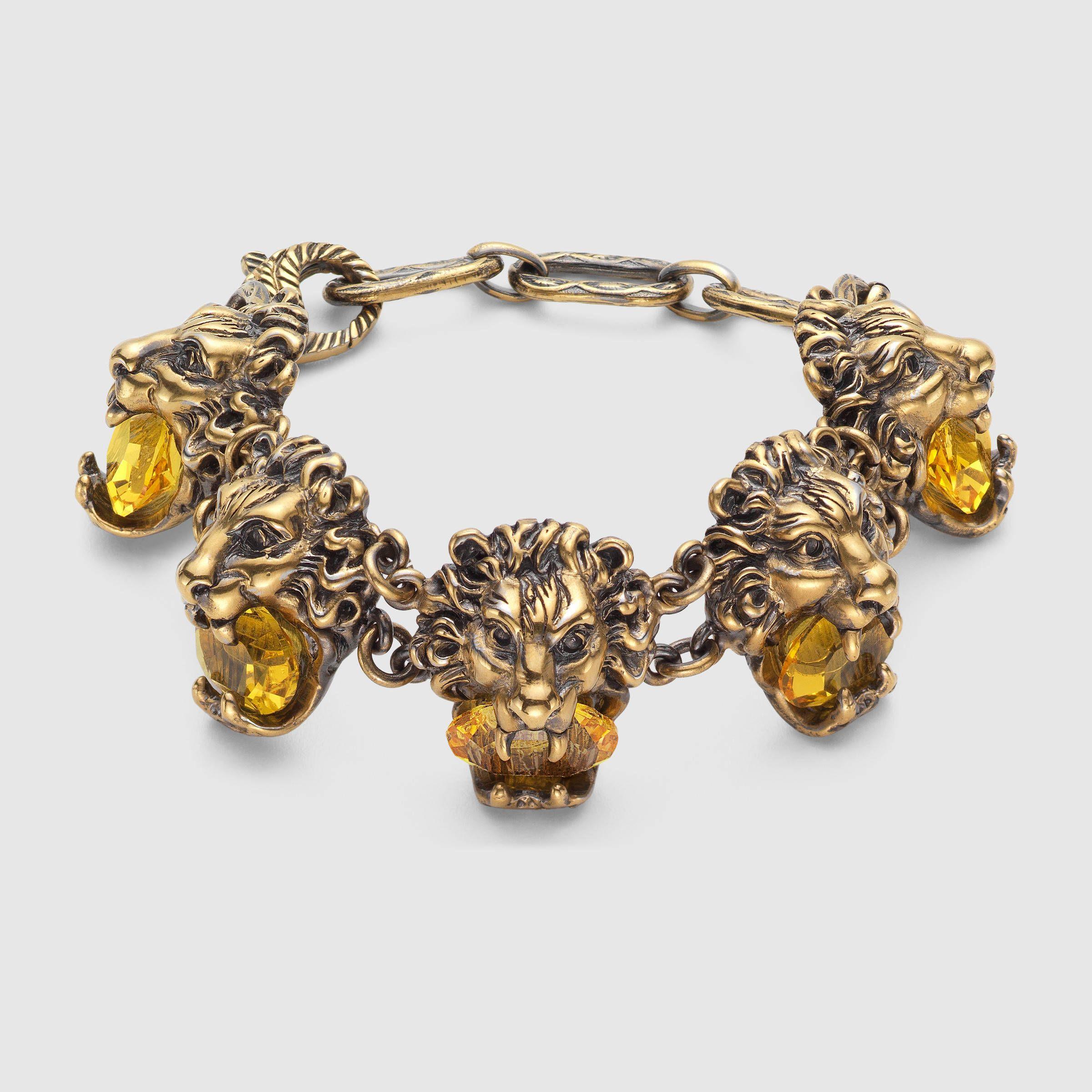 e22e9a9224f Gucci Women - Lion head bracelet with crystals - 415785J1D508083 ...