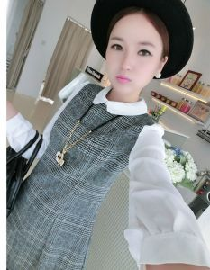 J73272 White Lapel Chiffon Sleeve Splicing Woolen Dress
