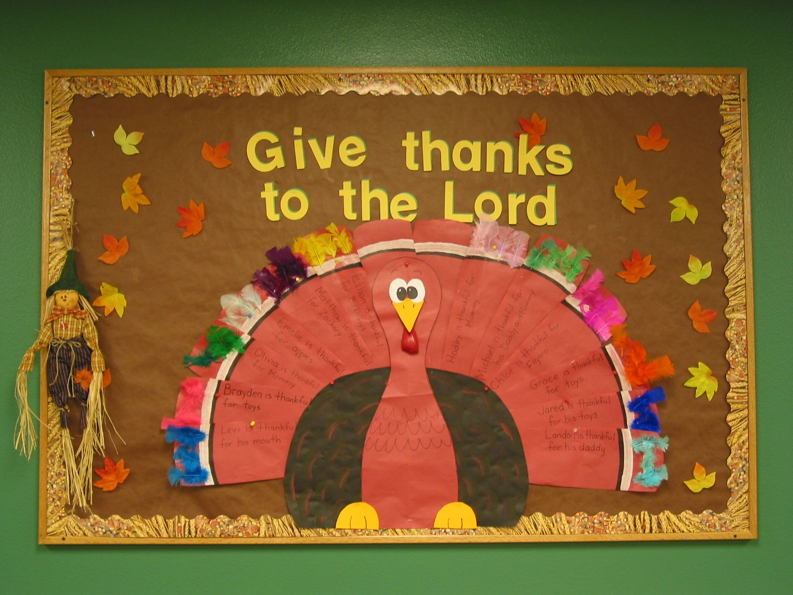delightful Thanksgiving Bulletin Boards For Church Part - 6: Thanksgiving bulletin board idea. The wobbler thing is a deflated red  balloon.