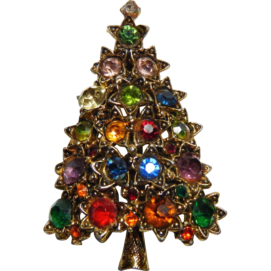 Vintage Christmas Tree with Rhinestones /& Colored Glass Pin Signed Eisenberg