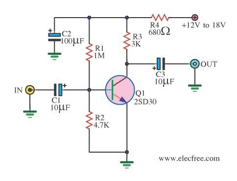4 Preamplifier circuits using transistors - Eleccircuit.com ... on