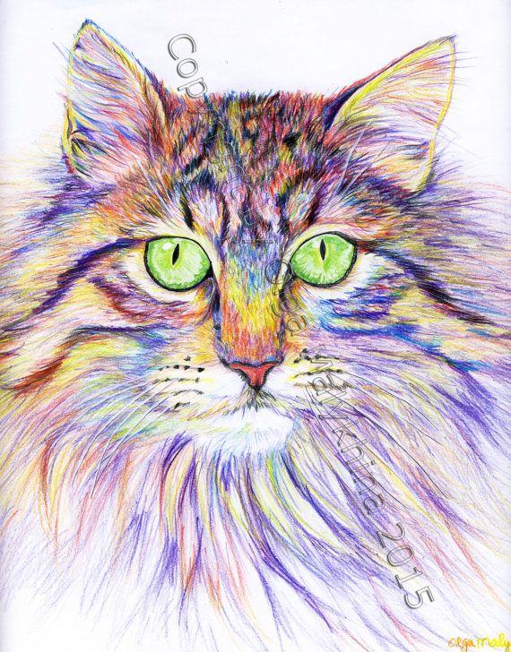 Psychedelic Cat Colored Pencil Drawing Download En 2019 Cuadros