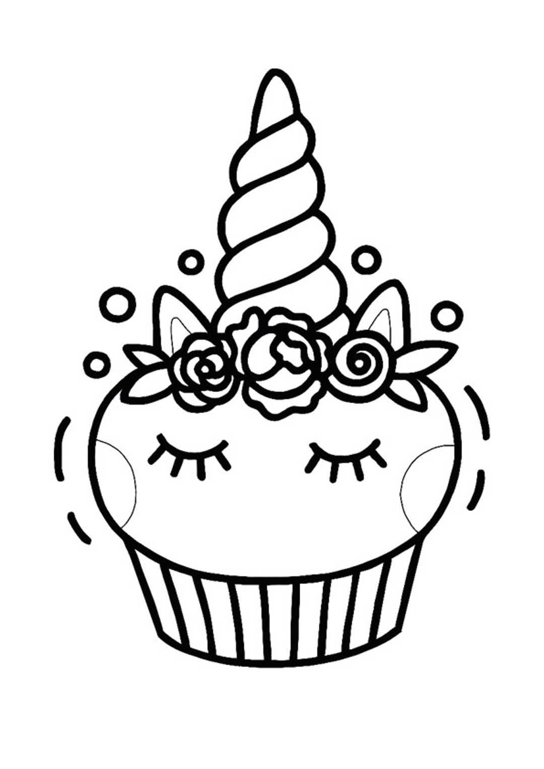 Free Printable Unicorn Cupcake Coloring Pages