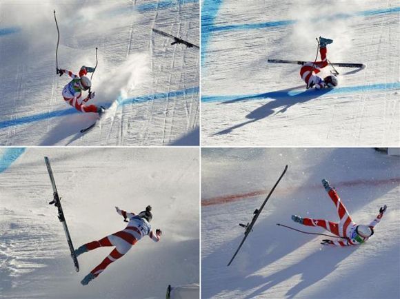A combination of pictures shows Switzerland's Dominique Gisin as she crashes on the final hill before the finish line during the women's Alpine Skiing Downhill race