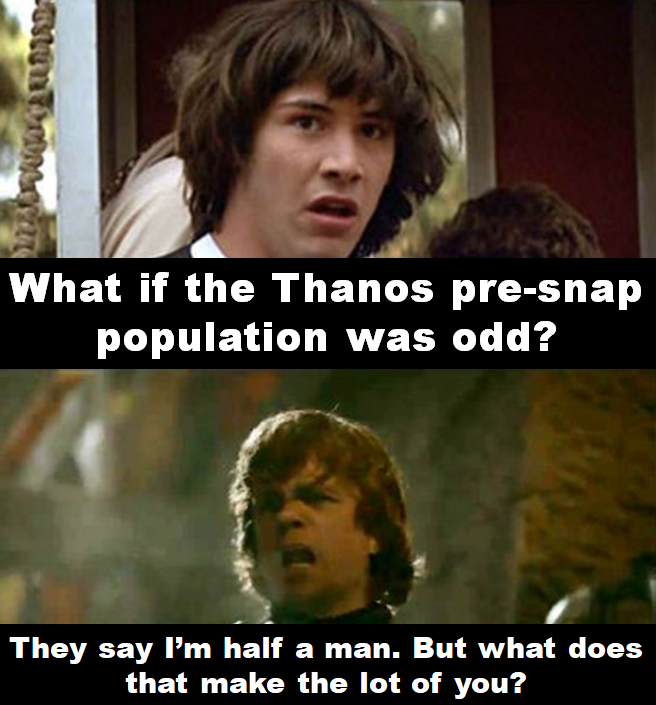 What if the Thanos pre-snap population was odd? (With images)