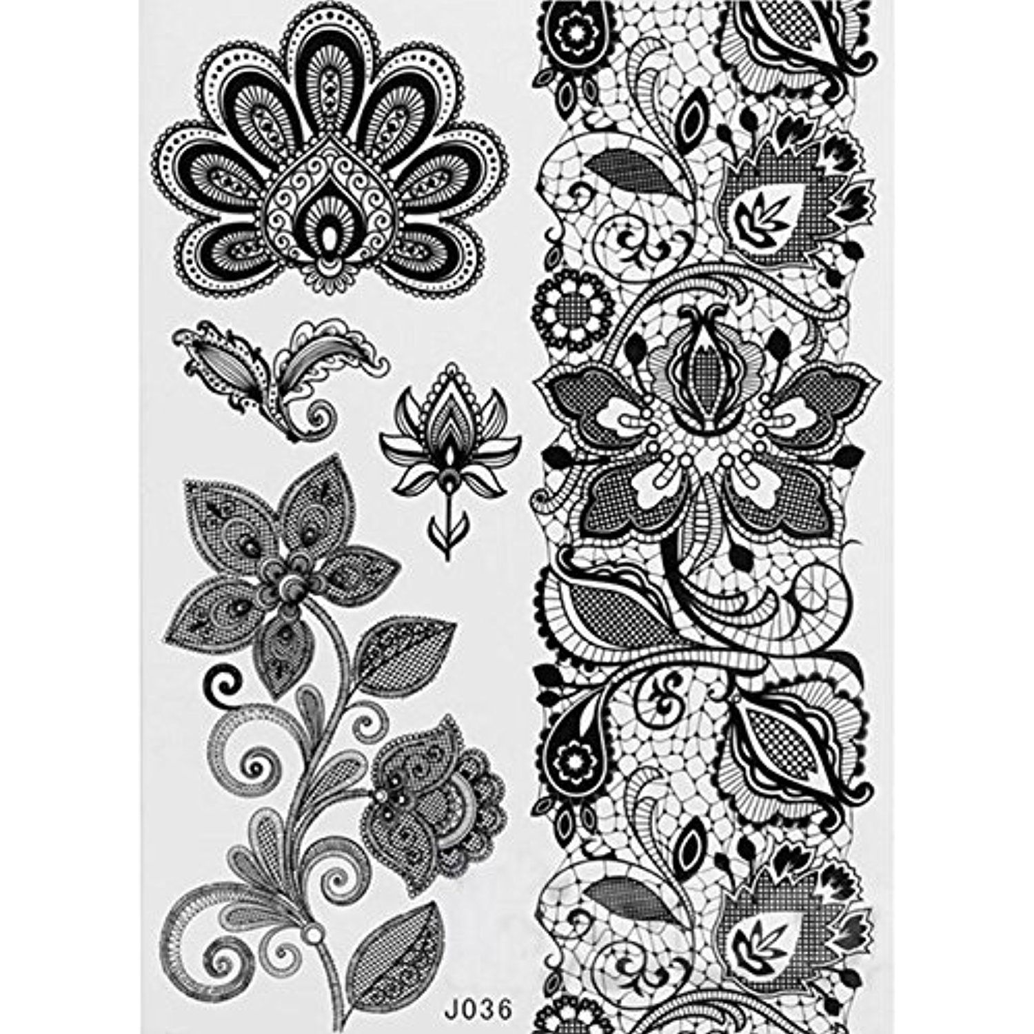 Tattoos for men with kids  sheet of black floral removable lace body art tattoo sticker for