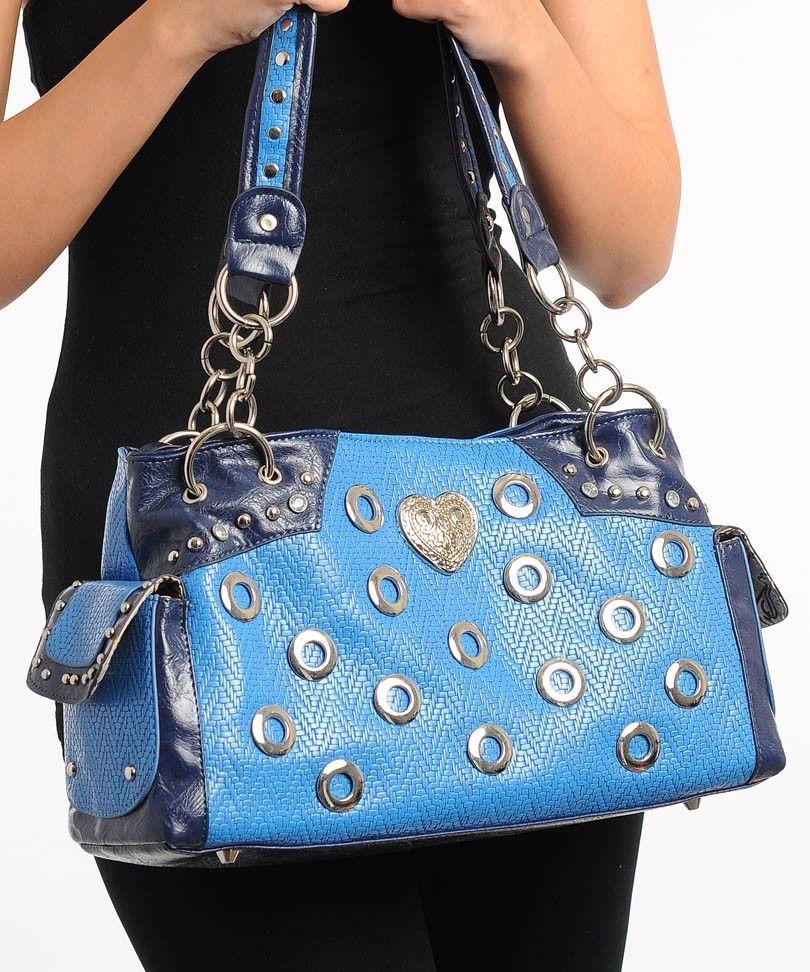 d0e601d315ad Bag · HANDBAG PURSE Womens SHOULDER BAG Navy Blue Heart Donut Studs Faux  Leather  UNBRANDED  Hobo