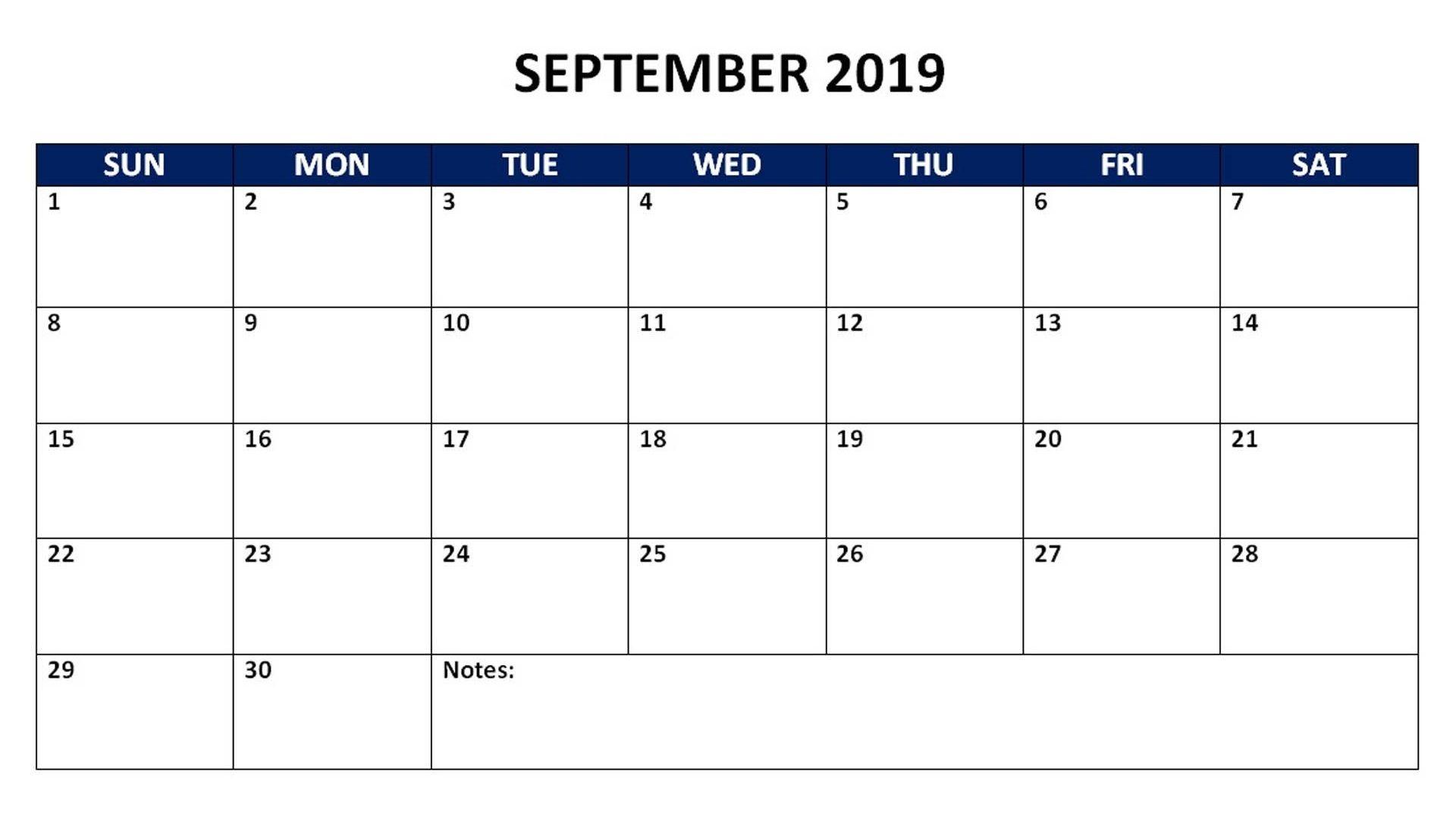 September 2019 Monthly Calendar 2019 Calendars Pinterest