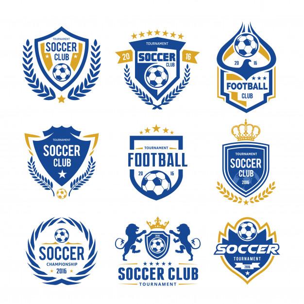Set Of Soccer Football Logo Template Football Logo Design College Football Logos Soccer Logo