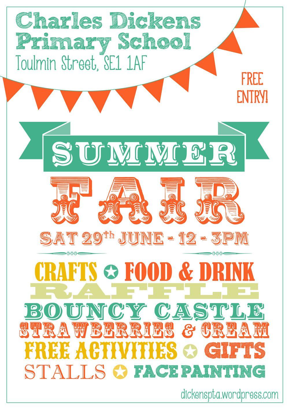 Summer Fair Poster | PTA | Summer fair, School fair, Village fete