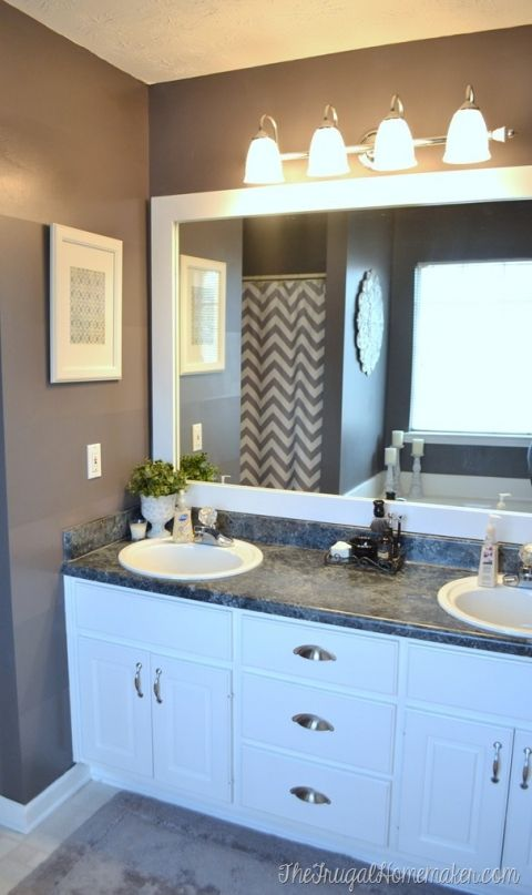 How to frame out that builder basic bathroom mirror (for $20 or less