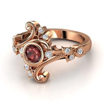 THIS IS GORGEOUS  Round Red Garnet 14K Rose Gold Ring with Diamond - Flamenco Ring | Gemvara