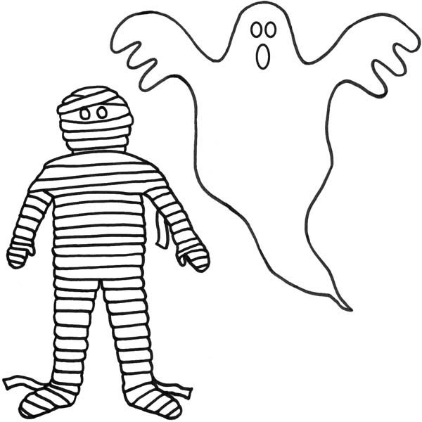 A Mummy And A Ghost Coloring Page Kids Play Color Online Coloring Pages Coloring Pages Online Coloring