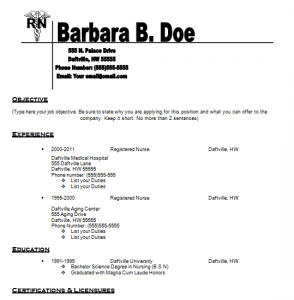 Nursing Resume Template  Resumes    Nursing Resume