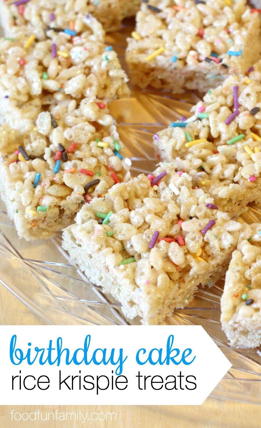 Birthday Cake Rice Crispy Treats Recipe Birfday Pinterest