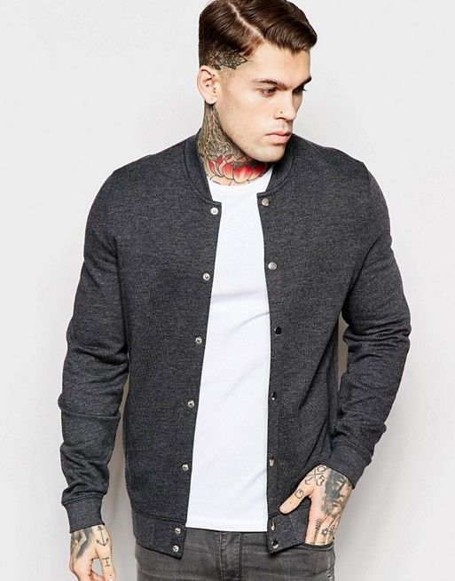ASOS   ASOS Jersey Bomber Jacket With Snaps In Charcoal