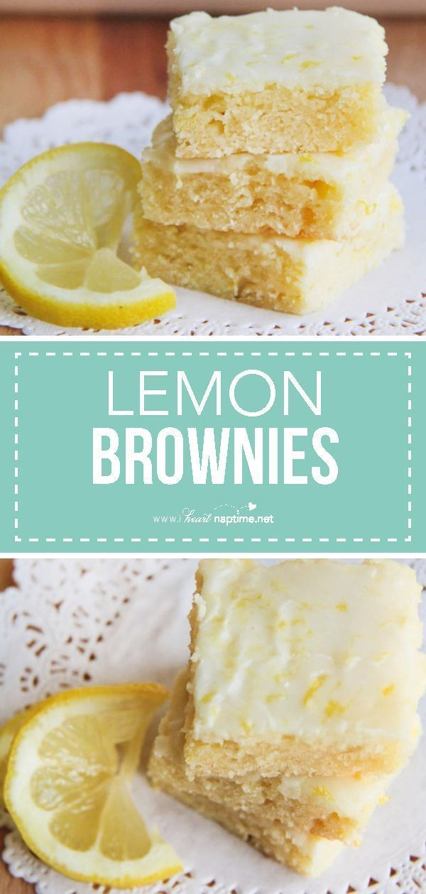 brownies AKA lemon blondies - Super soft and moist bars topped with the most delicious lemon glaze. The perfect summer dessert that you'll be making over and over again!