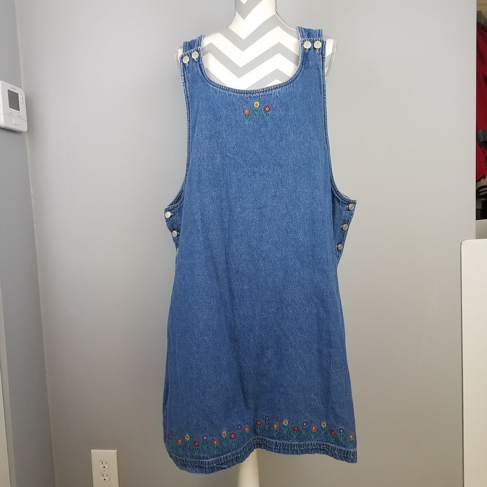 95d7fda3b3 Route 66 Denim Jumper Dress 3X Blue Embroidered Flowers Knee Length Casual  XXXL  Route66  JumperDress  Casual