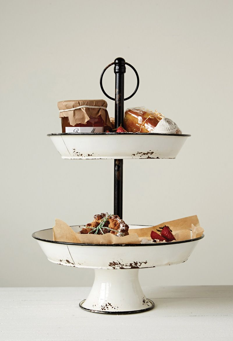 White Enamel TwoTiered Tray Tiered stand, Tiered tray