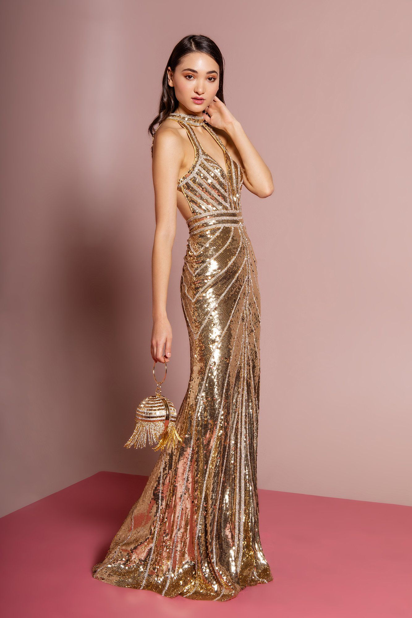 Gls by gloria gl2572 sequined halter cutout bodice gown