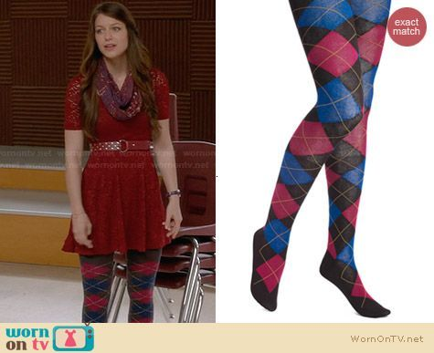 Marley's burgundy lace dress and argyle tights on Glee. Outfit Details: https://wornontv.net/29478/ #Glee