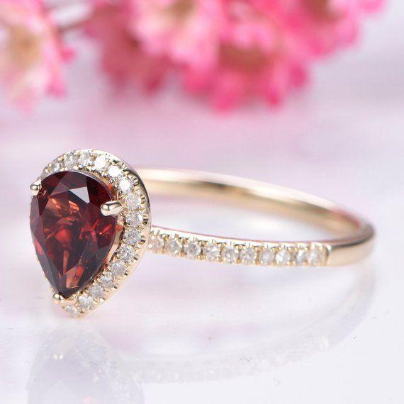 cd8460ad85b6b Garnet engagement ring 6x8mm pear cut garnet promise ring diamond ...