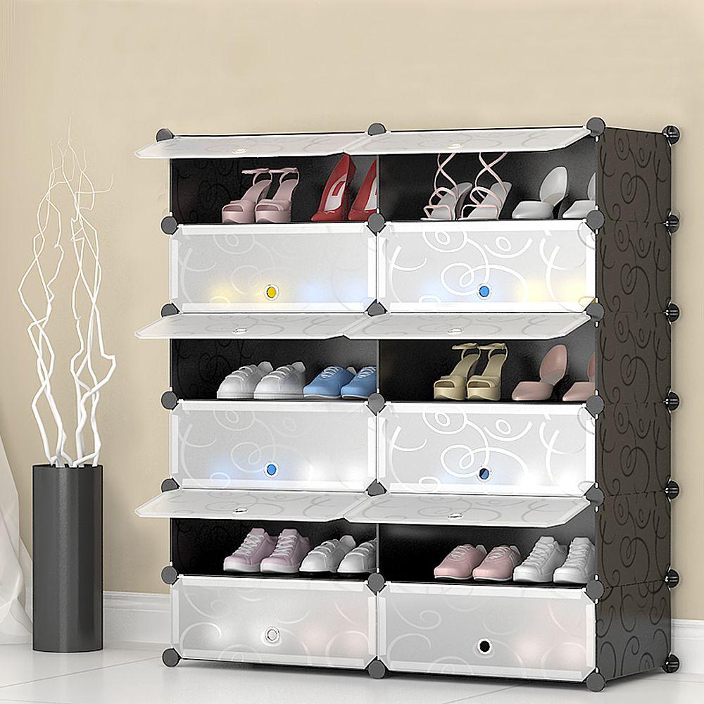 JEOBEST shoe cabinet DIY – 12 compartments plastic shoe rack, …