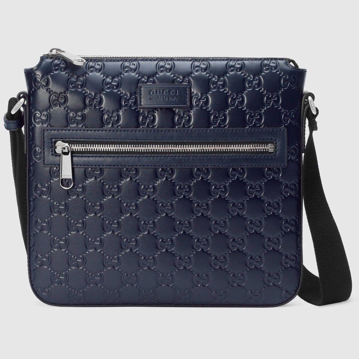 a1406f5ce GUCCI Gucci Signature messenger - blue Gucci Signature. #gucci #bags  #shoulder bags #lining #nylon #suede #