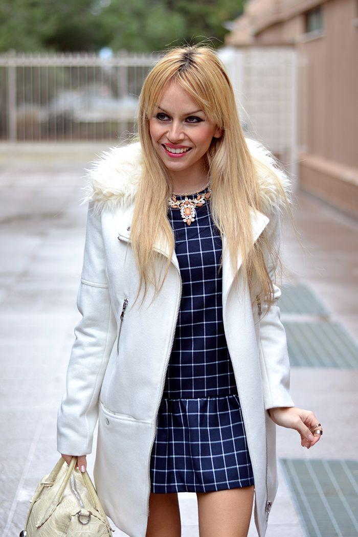 c1d44889 Checked dress, white coat, Furla bag and Zara cream pumps - #outfit elegant
